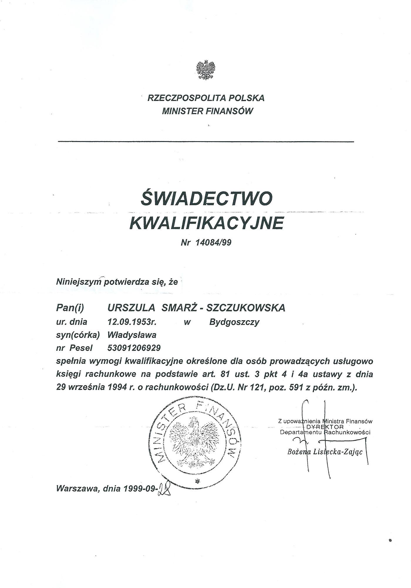 Księgowa, Urszula Smarż-Szczukowska - świadectwo kwalifikacyjne do prowadzenie księgowościi